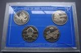 K8768 1995 Остров Мэн 1 крона 4 монеты Man In Flight жесткий буклет BUNC