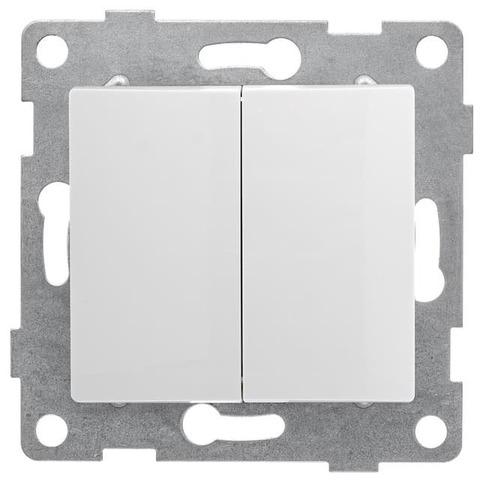 Выключатель двухклавишный, 10 А 220/250 В~. Цвет Белый. Bravo GUSI Electric. С10В2-001