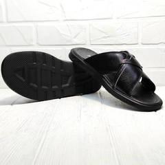 Шлепки сандалии мужские Brionis 155LB-7286 Leather Black.