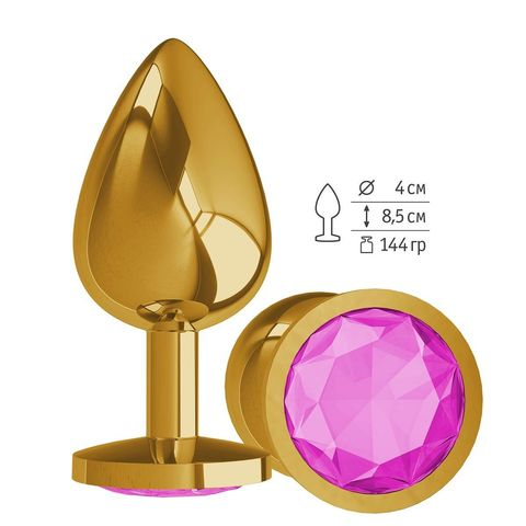 Золотистая большая анальная пробка с розовым кристаллом - 9,5 см.