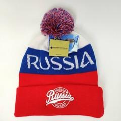 Вязаная шапка с эмблемой герба России (Russia) триколор 5