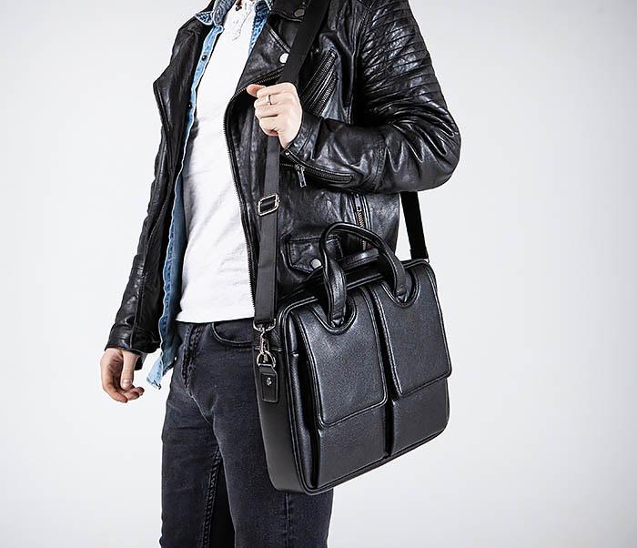 BAG536-1 Вместительный мужской портфель из кожи фото 02