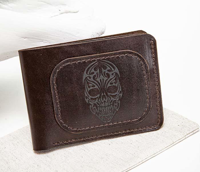 WL267-2 Мужской кошелек ручной работы с черепом (гравировка)