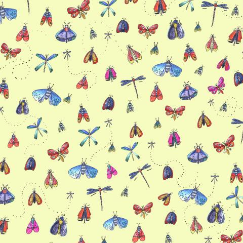 Бабочки на желтом фоне