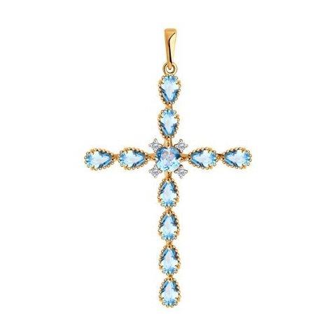 732130 - Подвеска-крест из золота с топазами и фианитами