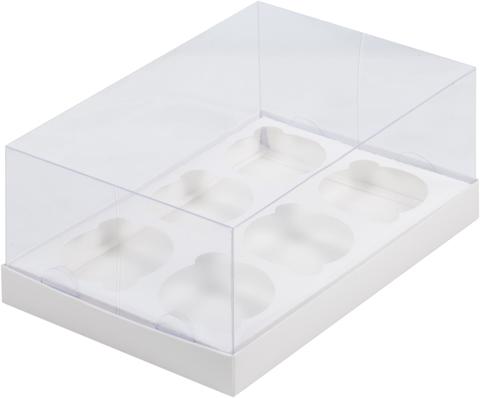 Коробка под 6 капкейков с прозрачно крышкой,белая, 23,5*16*10см