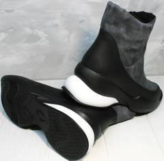 Купить зимние женские полусапожки спортивные Jina 7195 Leather Black-Gray