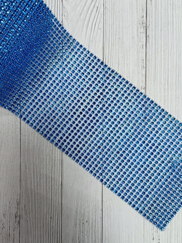 Стразы на тканевой основе, синий, размер 11.5см*100см