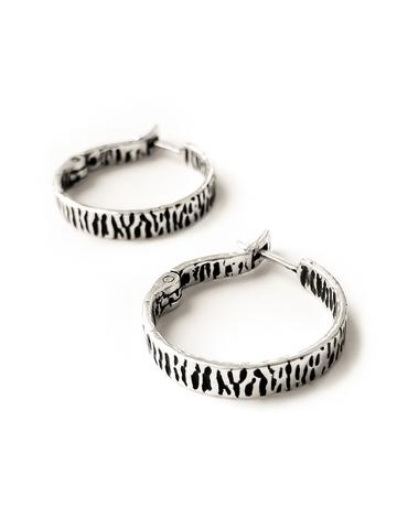Серебряные фактурные серьги-кольца