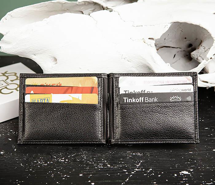 WL322-1 Мужской зажим для купюр «Santini» из черной кожи фото 06