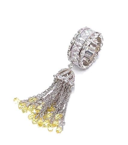 4906- Кольцо-кисточка из серебра с желтыми цирконами огранки бриолет