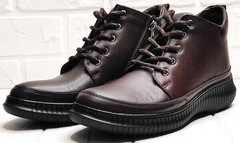 Женские ботинки кеды из натуральной кожи Evromoda 535-2010 S.A. Dark Brown.