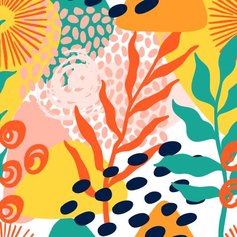 яркая абстракция с листьями