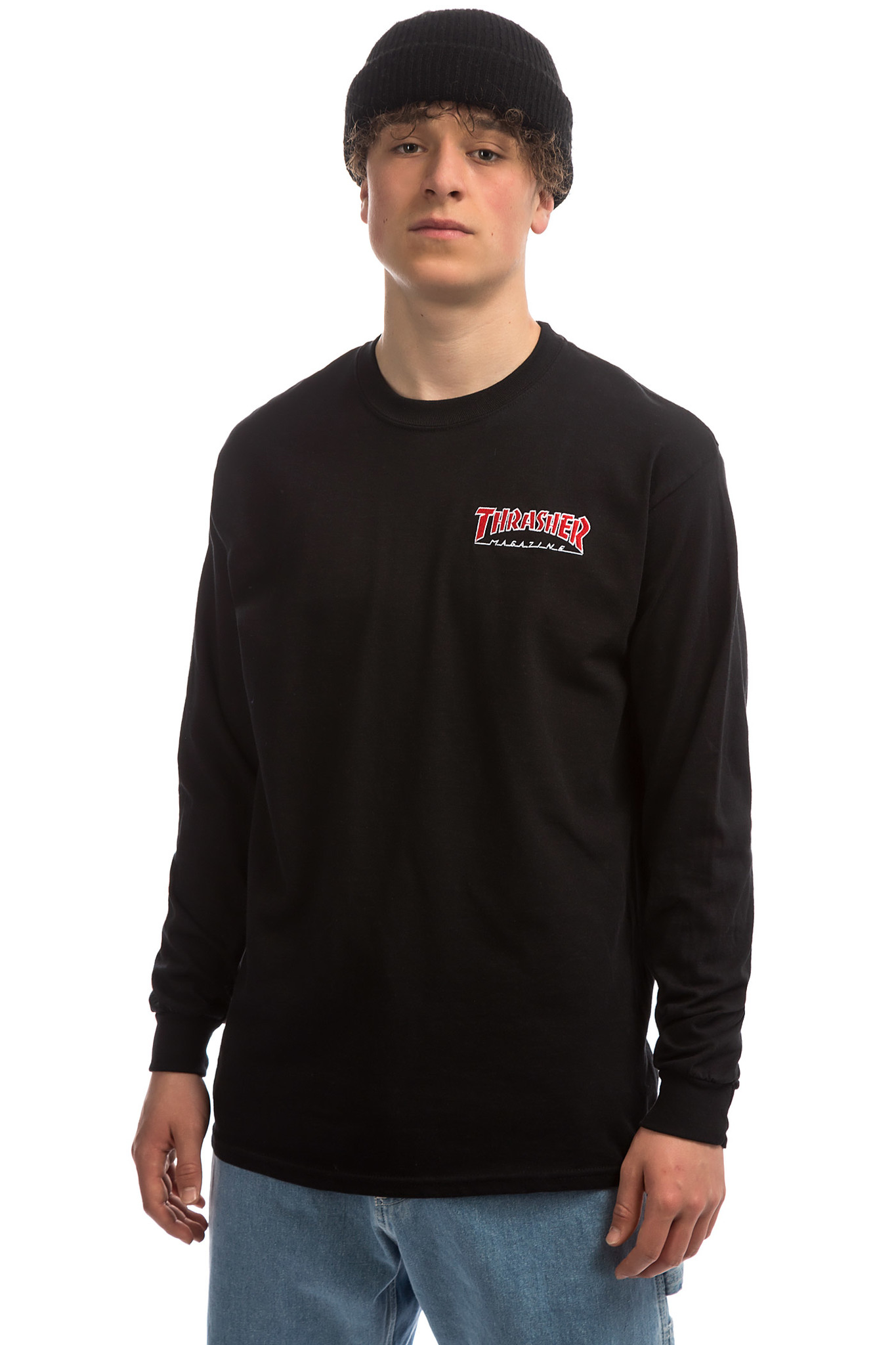 Лонгслив THRASHER Embroidered Outlined L/S Black