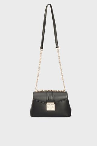 Женская черная сумка PRE TULIP FLAP CROSSBODY MD SMOOTH PU Trussardi