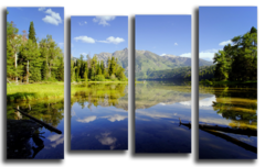 """Модульная картина """"Изумрудное озеро"""""""