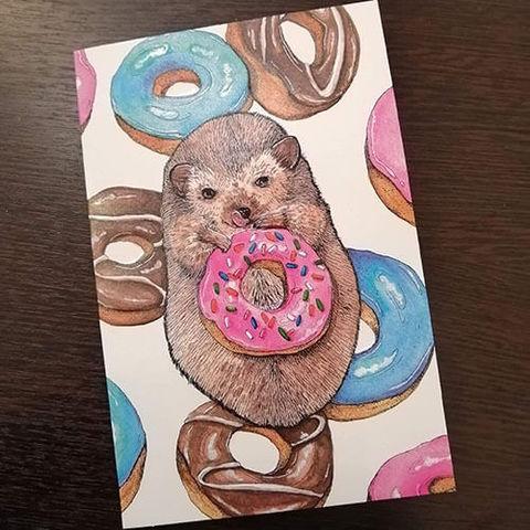 Открытка Бобёр с пончиком