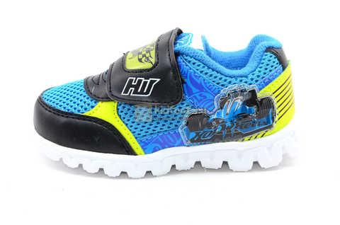 Светящиеся кроссовки Хот Вилс (Hot Wheels) на липучке для мальчиков, цвет синий. Изображение 3 из 15.