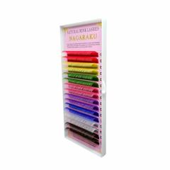 Цветные ресницы Nagaraku MIX цветов 16 линий отдельные длины