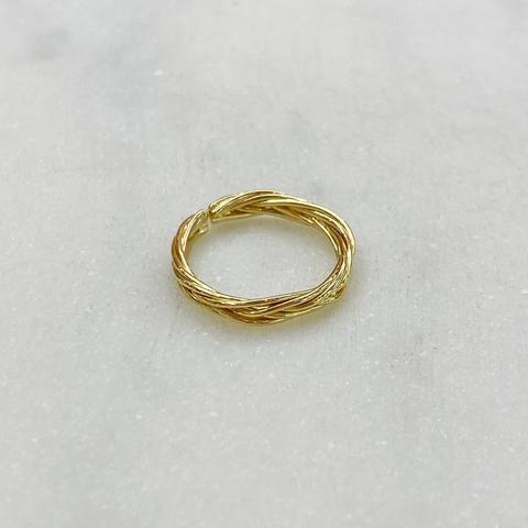 Кольцо на фалангу Косичка (золотистый)