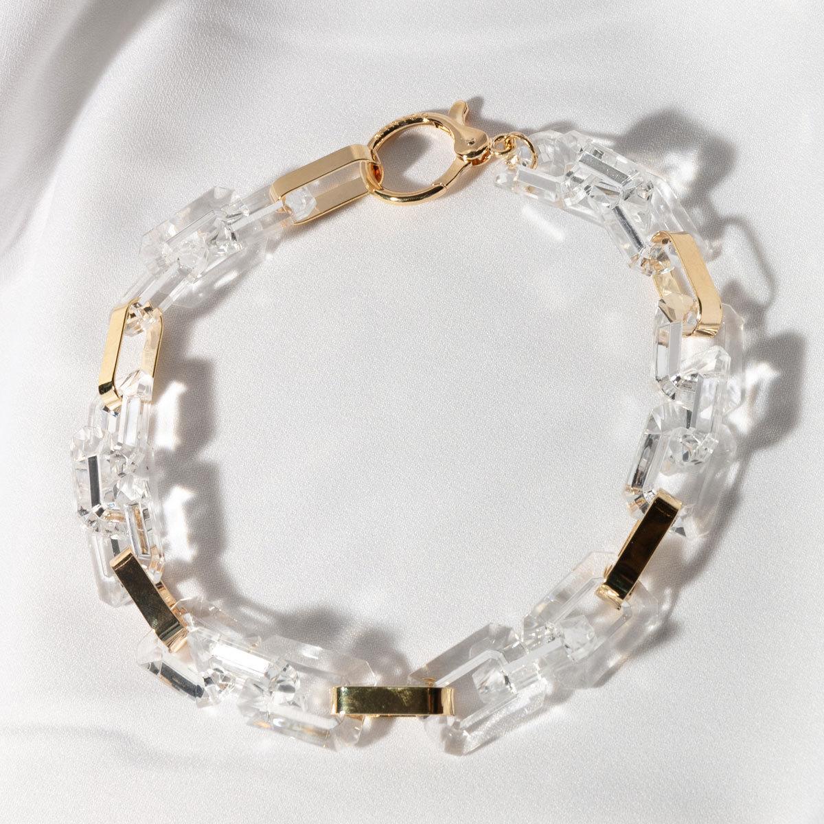 Колье из комбинированных золотых и прозрачных звеньев
