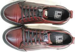 Кожаные мужские кеды туфли спортивные Luciano Bellini C6401 MC Bordo.