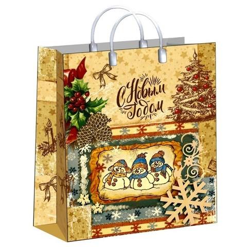 Новогодние подарочные пакеты 30х40+10 (150) из мягкого пластика
