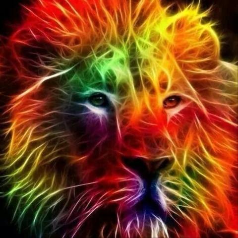 Алмазная Мозаика + Багет 40x50 Неоновый лев