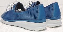 Кожаные женские кроссовки туфли с дырочками летние смарт casual Wollen P029-2096-24 Blue White.