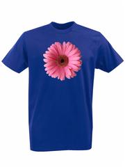 Футболка с принтом Цветы (Герберы) синяя 002