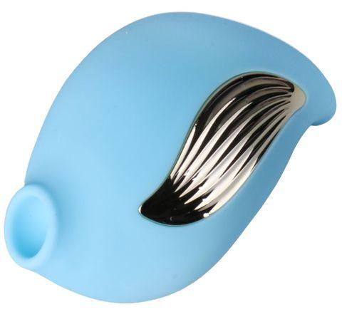 Голубой клиторальный вибростимулятор-ракушка