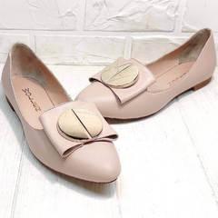 Красивые туфли балетки с узким носом Wollen G192-878-322 Light Pink.