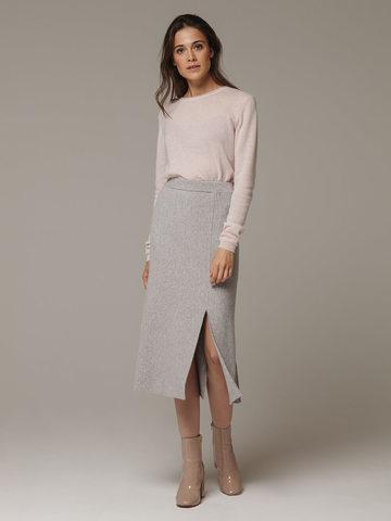 Женская серая юбка с разрезами из шерсти и кашемира - фото 1