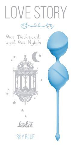 Голубые вагинальные шарики One Thousand and One Nights