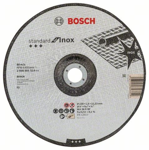 Отрезной круг BOSCH STANDARD INOX 230х1,9 мм