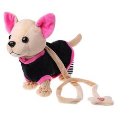 Собачка на поводке в темном костюмчике