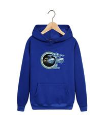 Толстовка синяя с капюшоном (худи, кенгуру) и принтом Знаки Зодиака, Весы (Гороскоп, horoscope) 001