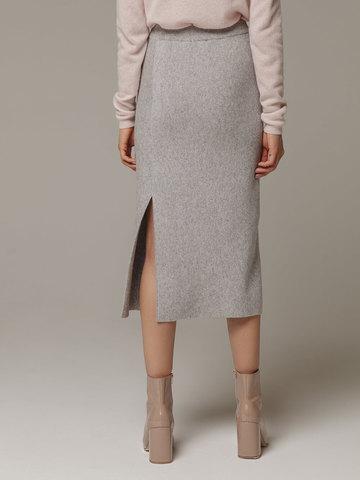 Женская серая юбка с разрезами из шерсти и кашемира - фото 2