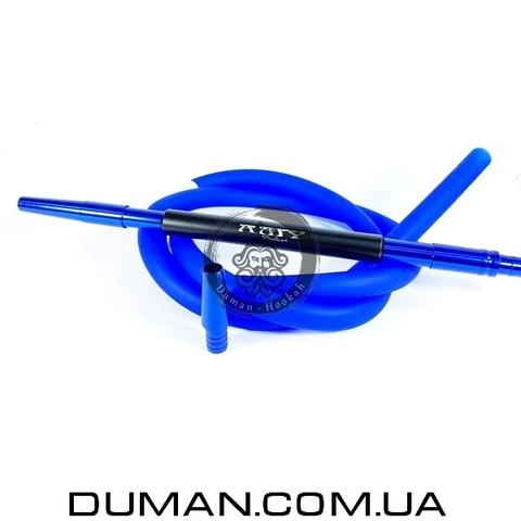 Комплект силиконовый шланг Soft-touch и алюминиевый мундштук AMY DeLuxe синий для кальяна
