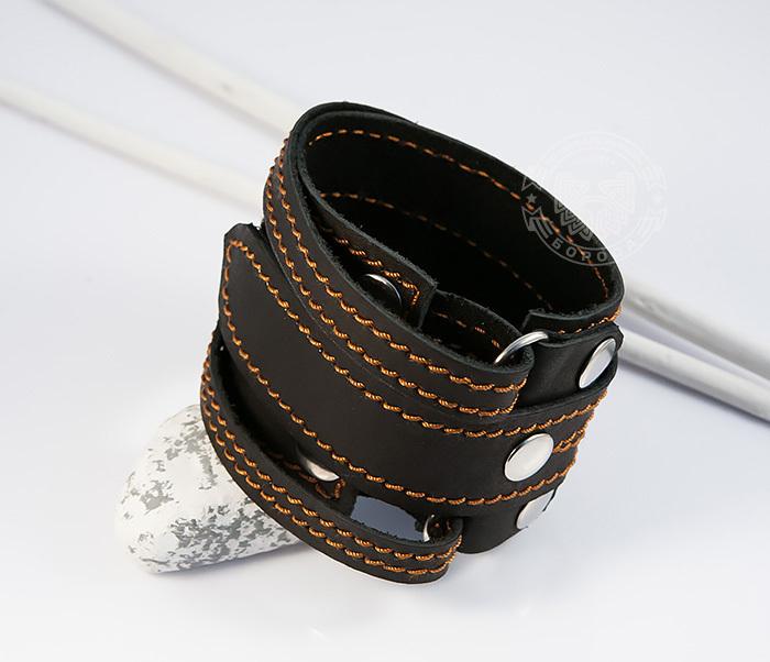 BL425-3 Широкий мужской браслет напульсник из кожи, ручная работа, «Boroda Design» фото 03