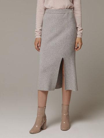 Женская серая юбка с разрезами из шерсти и кашемира - фото 3