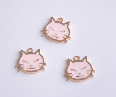 Подвеская эмалевая 1,5см,кошка, розовый