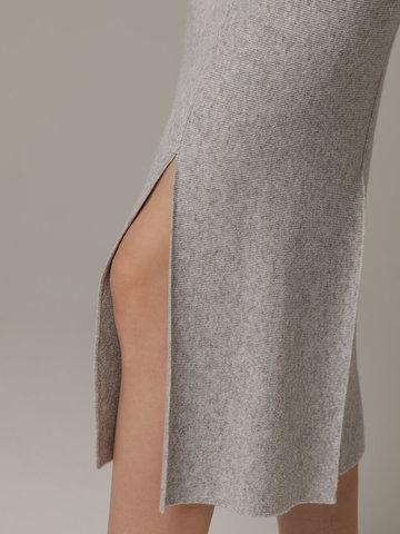 Женская серая юбка с разрезами из шерсти и кашемира - фото 4