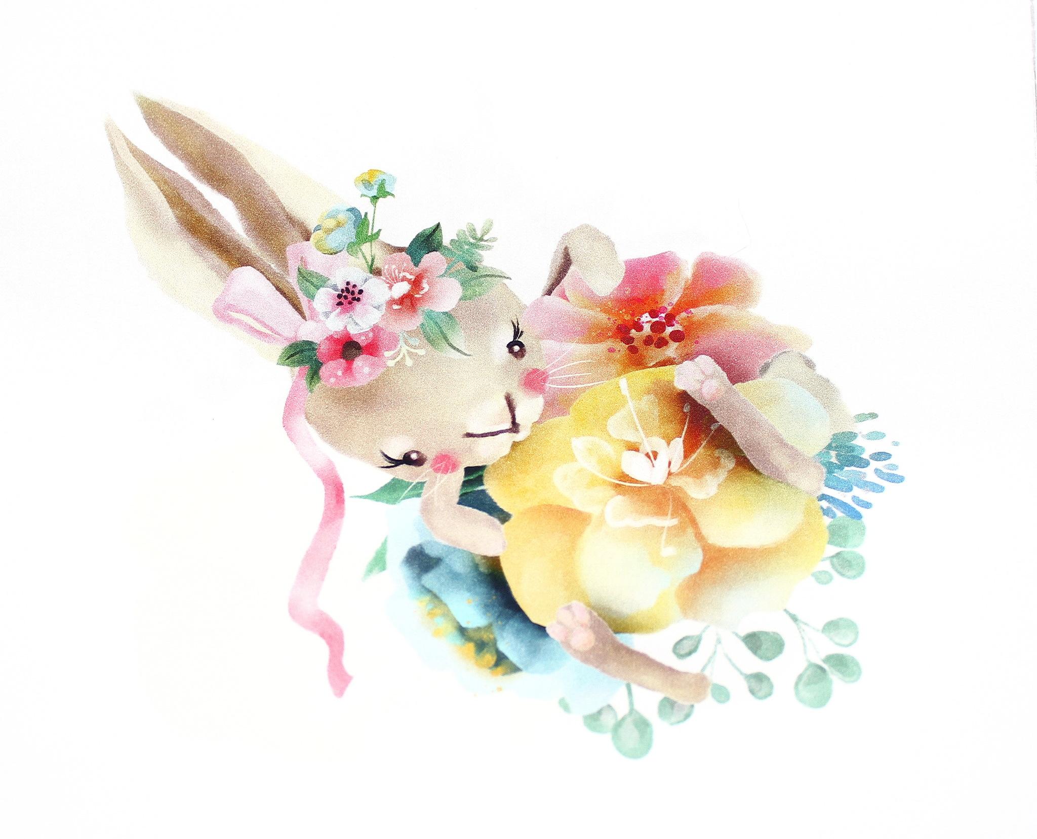 Панель(купон) Звери-акварели в цветах-35*35 см, 4 шт.