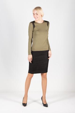 Фото модный джемпер с круглой горловиной, длинными рукавами и кружевными вставками - Джемпер В568а-416 (1)