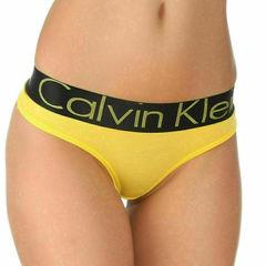 Женские трусы стринги желтые с черной резинкой Calvin Klein Women String Y-Black