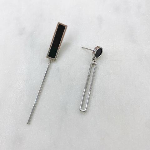 Серьги-подвески асимметричные (серебристый) ш925