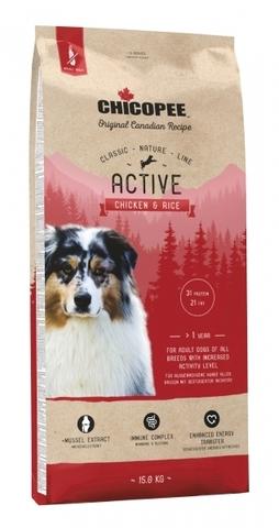 Chicopee CNL Active Chicken & Rice сухой корм для активных собак всех пород с курицей и рисом 15 кг