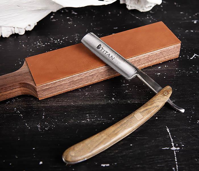 RAZ464 Кожаный ремень с деревянной рукояткой для правки бритвы фото 08