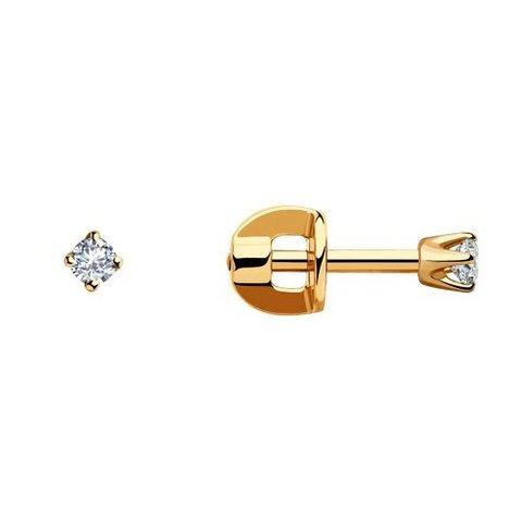 021054 - Золотые пусеты с фианитами